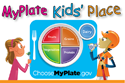 My Plate Kids' Place: cartoon image of two children looking at a plate- link to the United States Department of Agriculture's website: www.choosemyplate.gov